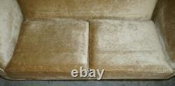 Lovely John Sankey Velour Upholstered Contemporary Sofa And Matching Ottoman