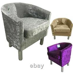 Luxury Crushed Velvet Fabric Tub Chair Armchair Home Cafe Lounge Bedroom Sofa UK