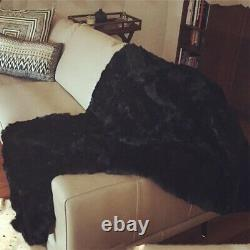 Luxury Soft Real Rabbit Fur Throw Warm Large Sofa Couch Bedspread Blanket Carpet
