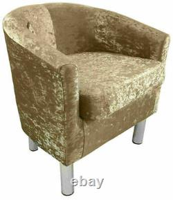 Luxury Velvet Fabric Tub Chair Armchair Home Cafe Lounge Bedroom Sofa Crushed UK