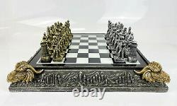 Medieval Dragon Mythic Gold Silver Historical Knights Chess Board Set Ornament