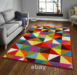 Modern Retro Hand Carved Multi Coloured Mats Small Large Area Rugs