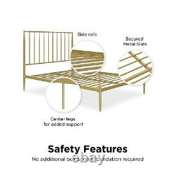 Modern Vintage Metal Bed Frame Scandi Style in Gold Double King Heeley