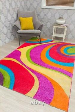 Multi Coloured Rugs Runners Carpet Rainbow Design Mat Hand Carved Bright Vibrant
