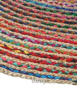 Natural Braided Oval Area Rug Cottn Jute Hand Woven Decorative Bedroom Rug