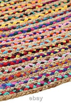 Natural Recycled Braided Oval Rug Saree Cotton Jute Mix 6x9 Feet Rug