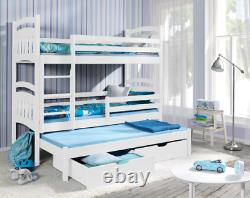 New Bunk Bed JAC 3 Mattresses Triple Bed for Kids Bedroom Custom Colours 2FT6