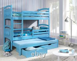 New Bunk Bed JAC 3 Triple Sleeper 3ft Single Children Bedroom Many Colours