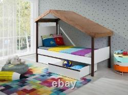 New Modern Cabin Bed MOLLY with Roof Mattress Drawers Solid Wood Custom colours