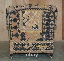 New Old Stock Large George Smith Signature Scroll Arm Kilim Upholstered Armchair