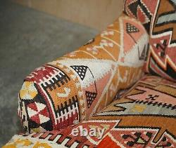 New Old Stock Large George Smith Signature Scroll Arm Kilim Upholstery Armchair