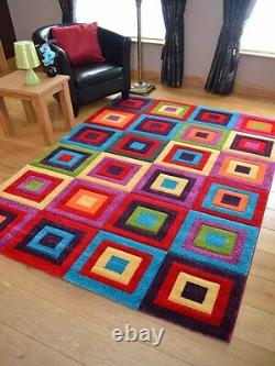 New Small Large Size Squares Soft Pile Bright Multi-Coloured Floor Carpets Rugs