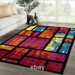 Non Slip Outdoor Rugs Large Area Floor Carpet Mat Hand Carved Multi Coloured Rug