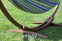 Oasis Double Cotton Hammock with Solid Pine Arc Stand