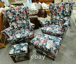 Pair IKEA Floral Wingback Armchairs with Matching Stool & Foot Pouffe