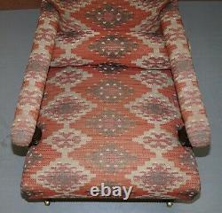 Pair Of George Smith Rrp £11,800 Kilim Upholstered Edwardian Library Armchairs