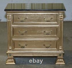 Pair Of Gold Over Silver Leaf Painted Bedside Table Sized Chests Of Drawers