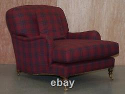 Pair Of Rrp £11,500 George Smith Signature Scroll Arm Howard Club Armchairs