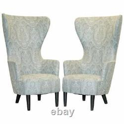 Pair Of Rrp £16,000 2007 Restored George Smith Tom Dixon Wing Back Armchairs