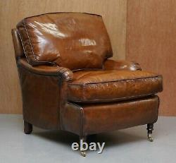 Pair Of Small Rrp £13000 George Smith Signature Brown Leather Club Armchairs