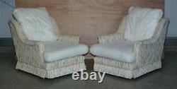 Pair Of Stamped 1984 Walton Gents Armchairs For Reupholstery Aztec Kilim Fabric