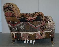 Pair Of Very Large George Smith Signature Scroll Arm Kilim Aztec Armchairs