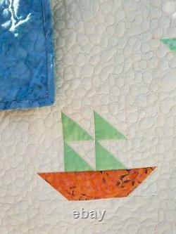 Patchwork handmade Double sized quilt. Nautical theme