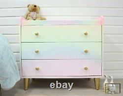 Rainbow Chest of 3 Drawers, Solid Oak, Baby Changing Unit, Childrens Furniture