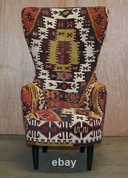 Rare Pair Of Rrp £18,000 2007 George Smith Kilim Tom Dixon Wing Back Armchairs