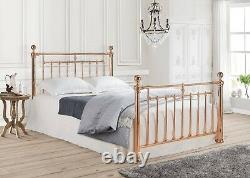 Rose Gold Metal Bed Frame Luxury Modern Style Double King Size Alexander
