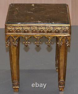Rrp £8400 Pair Of Gold Giltwood Marble Bust Stands Side End Lamp Wine Tables