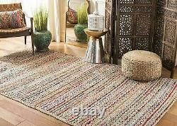 Rug 100% Natural Jute and Cotton Braided style Runner Rug Living Area Carpet Rug