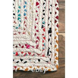 Rug Rectangle White Braided Cotton Chindi Area Floors Woven Rug Various Size