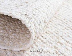 Rug White Cotton Rectangle Rug Solid Braided Reversible Carpet Living Area Rug