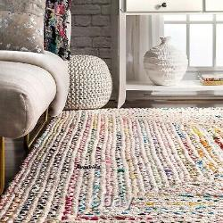 Rugs 100% Natural Cotton Braided Bohemian Modern Living Area Outdoor Decor Rugs