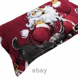 Santa Claus King size bed sheet 2 pillow cover bed cover Christmas Gift
