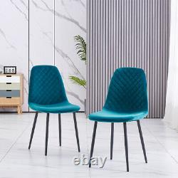 Set of 2/4 Dining Chairs Velvet Padded Seat Metal Leg Kitchen Home Office Lounge