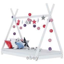 Single Bed Frame Solid Wooden Slats Children Kids Tent Style Bedroom Play House