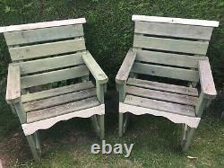 Solid Welsh Garden Seats/Chairs x 2 Solid Wood. Garden Furniture, Not Bench