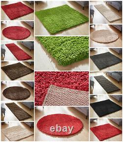 Square Circle Round Large Small Runner Modern Plain Thick Shaggy Clearance Rugs