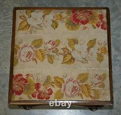 Stunning Victorian Antique William & Mary Style Walnut Embroidered Footstool