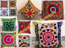 Suzani Cushion 25 PC Lot Pillow Covers Embroidery Throw Floral Handmade Pom 1318