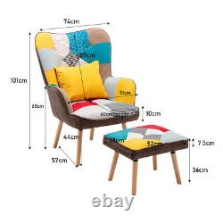 Upholstered Colourful Patchwork Armchair with Footstool Accent Chair Lounge Sofa