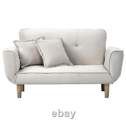 Velvet Sofa Bed Grey Beige Light Gray With Wood Legs Elegant Sofabed 2/Seaters