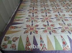 Vintage Antique Hand Stitched & Quilted Handmade Patchwork Quilt Double