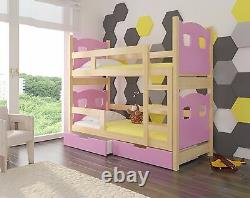 Wooden Bunk Bed MARABO for Kids made of Solid Wood with 2 FREE MATTRSESSES