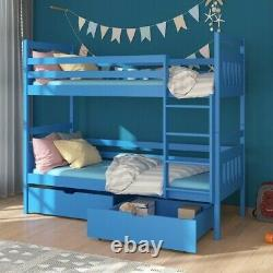 Wooden Bunk Bed with Mattresses with Storage Pine Wood New Many Colours ADA